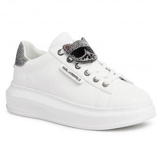 Sneakersy KARL LAGERFELD - KL62576  White Lthr w/Silver