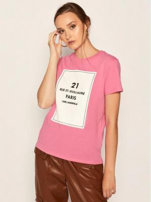 KARL LAGERFELD T-Shirt Square Address Logo 205W1711 Różowy Regular Fit