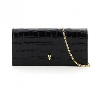 Croco print leather clutch with skull