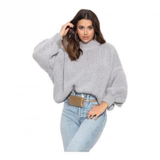 Fobya Kaszmirowy sweter z półgolfem Swetry i bluzy Szary Dorośli