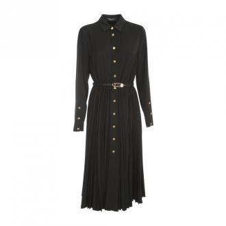 Versace Chemisier Suknia W / karbowany przeponę Sukienki Czarny
