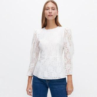 Reserved - Ażurowa bluzka z bufiastymi rękawami - Kremowy