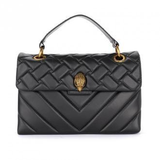 Kensington shoulder bag in black quilted leather