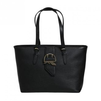 SHOPPER WITH METAL HANDLES AND LOGO