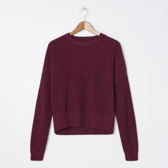 House - Bawełniany sweter oversize - Bordowy
