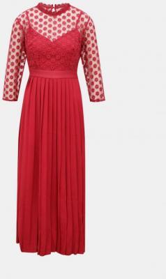 Czerwona sukienka maxi z przezroczystym siodłem Little Mistress - XS