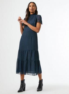 Niebieska sukienka midi w kropki Dorothy Perkins - XS