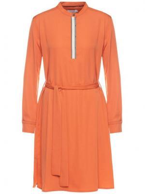 Calvin Klein Sukienka koszulowa Belted Placket K20K201719 Pomarańczowy Regular Fit