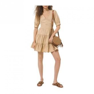 Cotton dress with puff sleeves
