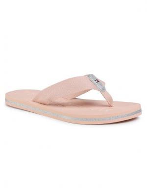 TOMMY HILFIGER Japonki Th Glitter Flat Beach Sandal FW0FW04987 Różowy