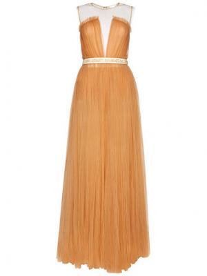Elisabetta Franchi Sukienka wieczorowa AB-001-06E2-V769 Różowy Waisted Fit