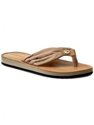 TOMMY HILFIGER Japonki Leather Footbed Beach Sandal FW0FW00475 Beżowy