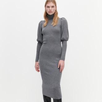 Reserved - Sukienka midi z bufiastymi rękawami - Szary