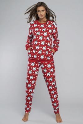 Italian Fashion Hati dł.r. dł.sp. Nocna piżama, czerwony