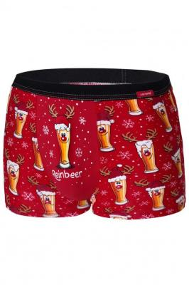 Cornette Merry Christmas Beer 2 007/54 Majtki bokserki, czerwony