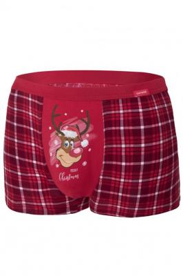 Cornette Merry Christmas Reindeer 2 007/58 Majtki bokserki, czerwony