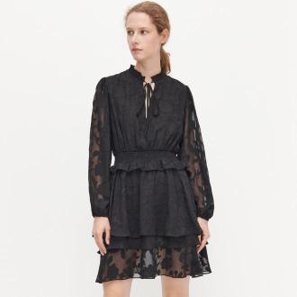 Reserved - Sukienka w kwiaty - Czarny
