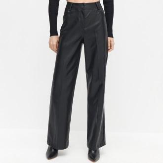Reserved - Szerokie spodnie z imitacji skóry - Czarny