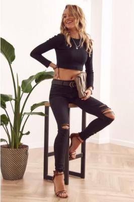 Spodnie jeansowe z dziurami czarne 25350