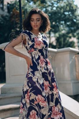 Popatu Granatowa sukienka maxi Caprice