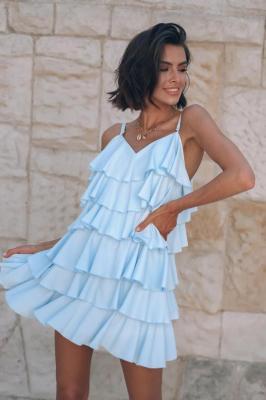 Popatu Błękitna sukienka z falbanami Elodia
