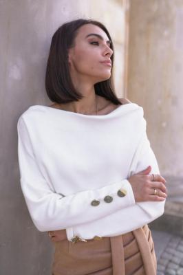 Popatu Biały sweter z guzikami Jacinta