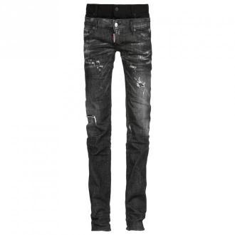 Dsquared2 Spodnie jeansowe Jeansy Czarny Dorośli Kobiety Rozmiar: 40