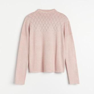 Reserved - Sweter z cekinową aplikacją - Różowy