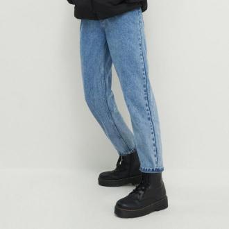 House - Mom jeans z marszczoną talią - Niebieski