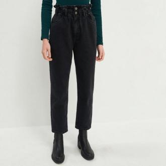 House - Mom jeans z marszczoną talią - Czarny