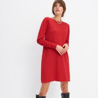 Mohito - Dzianinowa sukienka z bufkami - Czerwony