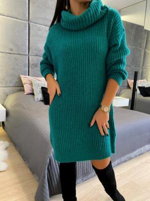 Zielona Sweterkowa Sukienka z Golfem 5212-78-H