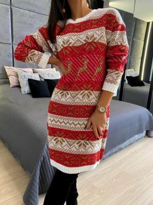 Biało-Czerwono-Złota Swetrowa Sukienka 5266-400-A