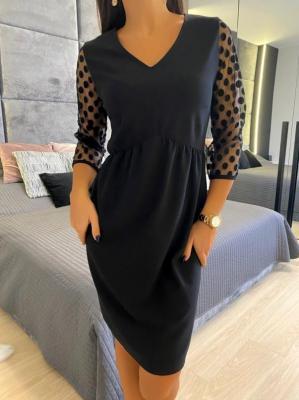 Czarna Sukienka z Ozdobnym Rękawkiem 5275-04-A