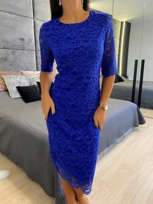 Kobaltowa Koronkowa Sukienka 5276-20-E