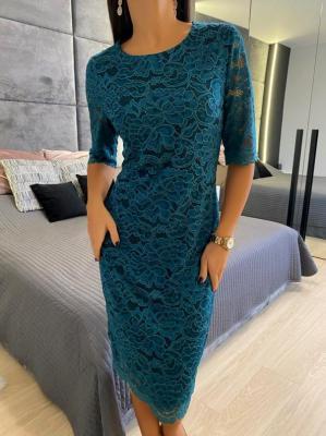 Zielona Koronkowa Sukienka 5276-20-F