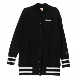Long Reverse Weave Bomber Jacket