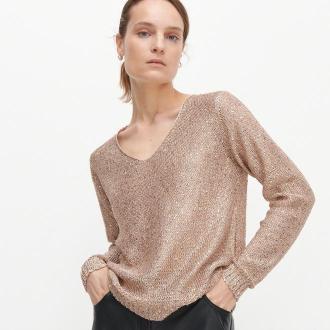 Reserved - Cekinowy sweter - Złoty
