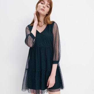 Mohito - Sukienka z dzianiny mesh - Khaki