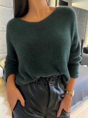 Ciemnozielony Pluszowy Sweterek 5181-303-E