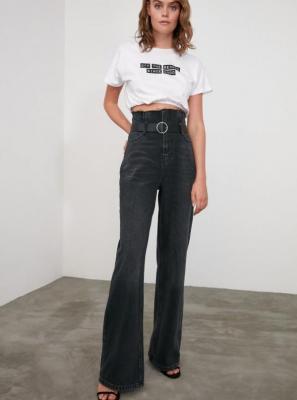 Czarne szerokie dżinsy damskie Trendyol - XS
