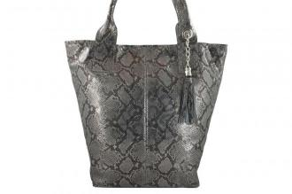 Worek skórzany na ramię Shopper bag - Szary