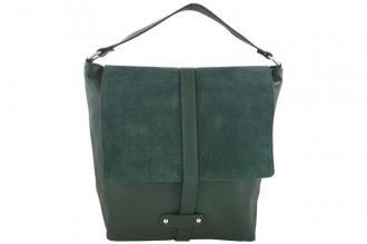 Torby skórzane Shopper bag A4 - Zielona ciemna
