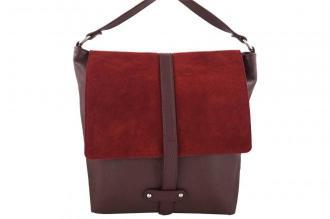 Torby skórzane Shopper bag A4 - Bordowa