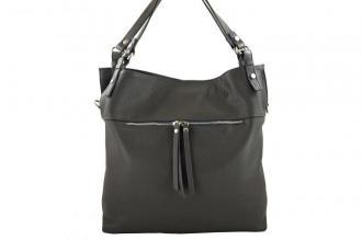 Duży skórzany worek / shopper bag - A4 - Szary ciemny