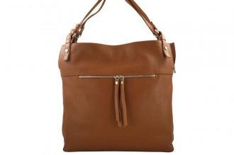 Duży skórzany worek / shopper bag - A4 - Brązowy jasny