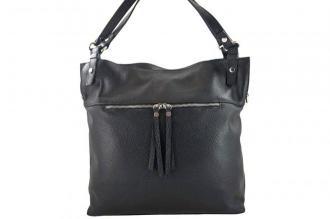 Duży skórzany worek / shopper bag - A4 - Czarny