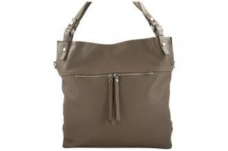 Duży skórzany worek / shopper bag - A4 - Beżowy ciemny
