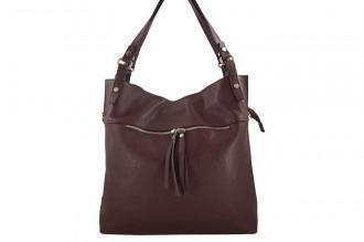 Duży skórzany worek / shopper bag - A4 - Bordowy