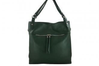 Duży skórzany worek / shopper bag - A4 - Zielony ciemny